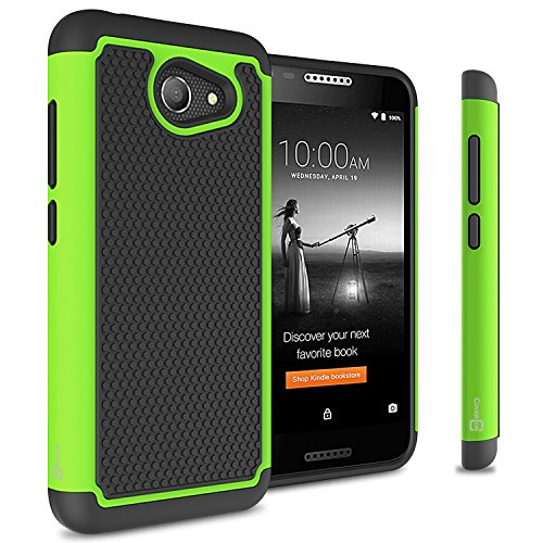 Alcatel A30 Case, Alcatel Zip Case, Alcatel Kora Case, CoverON HexaGuard Heavy Duty Protective Dual Layer Hybrid Phone Cover - Green on Black (NOT FIT A30 TABLET)