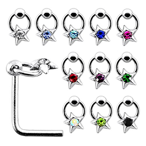 20 Pieces Box Set of Jeweled Star on Moving Ring Top Sterling Silver L Bend Nose Stud Jewelry ()