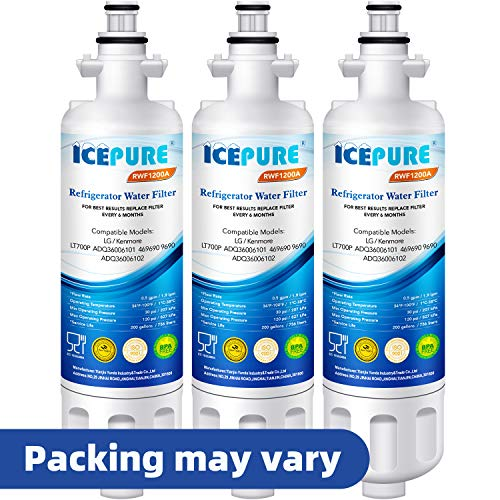 ICEPURE Refrigerator Water Filter, Compatible with LG LT700P, ADQ36006101, KENMORE 46-9690, 9690, ADQ36006102, WSL-3, LFXS30766S, LFXC24726D, LFXC24726S, LFXS24623S, ADQ36006101-S, RWF1200A, Pack of 3 (Kenmore Elite Grab And Go Refrigerator Reviews)