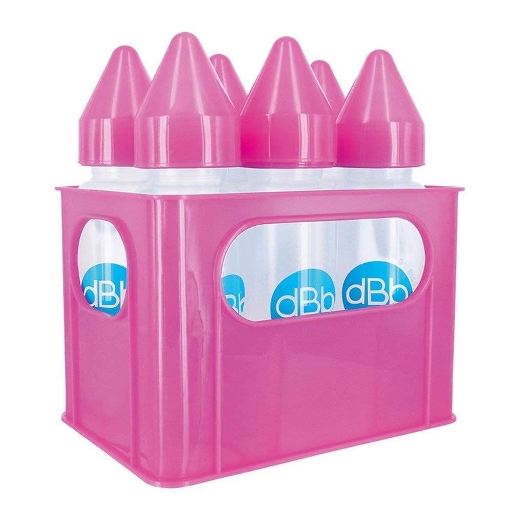 dBb Remond 177368 Crate and  6 Silicone Teat Glass Feeding Bottles Translucent Pink 240 ml