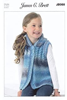 James Brett Childrens Mega Chunky Knitting Pattern Girls Boys Sweater Hat JB550