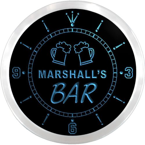 S Home Bar Beer Mugs Pub LED Neon Sign Wall Clock ()