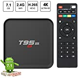 EASYTONE Android 7.1 TV Box Quad-core Speed Android Box Support 3D 4K video devoding H.265 2.4GHz WiFi 1GB/8GB Media Player(2018 Version)