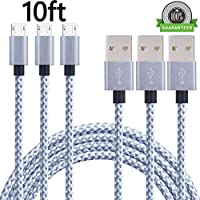 Generic Micro USB Cable,3Pack 10FT Extra Long Nylon Braided High Speed Android Charger USB to Micro USB Cable Samsung Fast Charger Charging Cord for Samsung Galaxy S7 Edge/S6/S4/Note 5/Note 4(Gray)