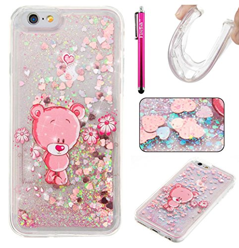 iPhone 7 Case, Firefish Bling 3D Sparkle Floating Dynamic Flowing Shockproof [Flexible] Gel Silicone [No Slip] Back Cover for Apple iPhone 7 2016 -S-Bear