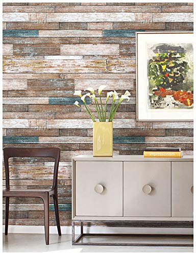 "HaokHome 606 Distressed Wood Plank Wallpaper Wood Look 20.8"" x 33ft Blue/Beige/Brown Home Kitchen Bathroom Wall Paper"