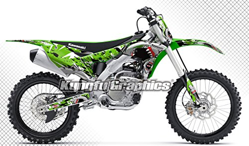 (Kungfu Graphics Shark Custom Decal Kit for Kawasaki KX250F KXF250 KX 250F KXF 250 2017 2018, Splash Ink Green)