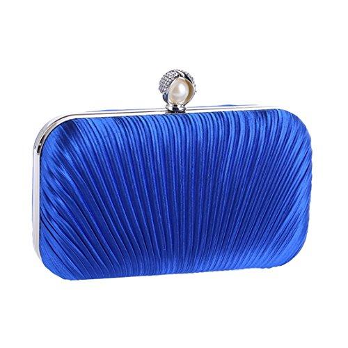 La Mujeres Tarde Las Del Aprikosen Diamante color Embrague Tela Bolso Blue Noche De Magai Plisado Y8q1Aw8