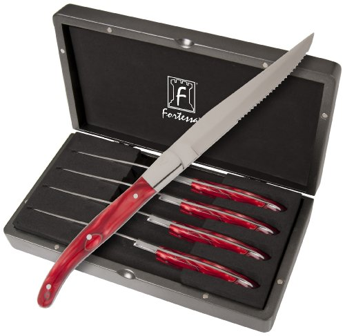 - Fortessa Provencal 4-Piece Serrated Steak Knife Set with Box, 9.25-Inch, Red Handle