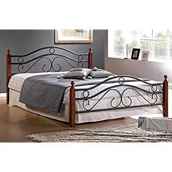 this item queen metal bed frame w wood posts and mattress support queen - Wood Bed Frame Queen