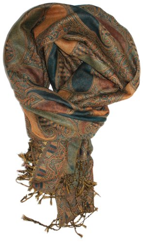 LibbySue-Silk Blend Paisley Teardrop Tapestry Pashmina (Teal and Camel)