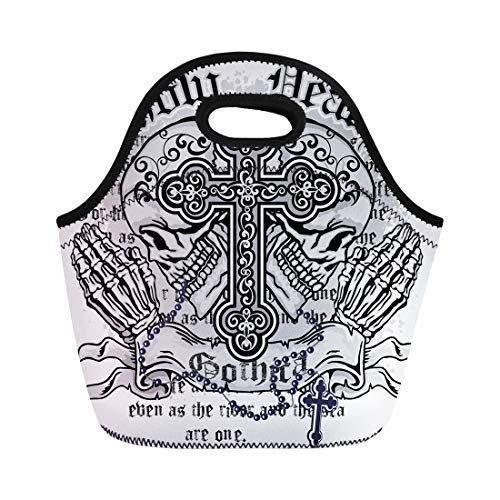 (Semtomn Lunch Tote Bag Angel Gothic of Arms Skull and Rosary Vintage Church Reusable Neoprene Insulated Thermal Outdoor Picnic Lunchbox for Men Women)