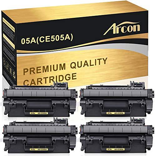 Arcon Compatible Toner Cartridge Replacement for HP 05A CE505A 05X CE505X HP P2035 P2055dn HP Laserjet P2035 P2055DN P2035N P2055D P0255X HP Laserjet P2055 P2035 2035 2055 Toner Printer(Black,4Packs)