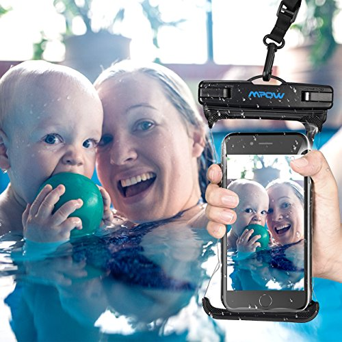Mpow Waterproof Phone Pouch, Full Transparency IPX8 Waterproof Case with Adjustable Lanyard Universal Dry Bag Compatible for iPhone X/8/8P/7/7P, Galaxy S9/S9P/S8P/Note 8, Google/HTC up to 6.0'' 2-Pack by Mpow (Image #1)