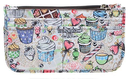 (Vercord Printed Purse Handbag Tote Insert Organizer 13 Pockets With Zipper Handle Ice Cream Medium)