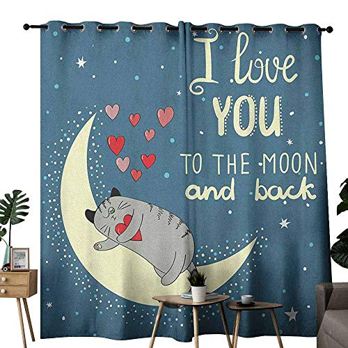 (duommhome I Love You Breathable Curtain Sleepy Cat Holding Hearts Over The Moon at Night Sky for Living, Dining, Bedroom (Pair) W72 x L96 Slate Blue Warm Taupe Pale Yellow)