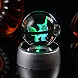 3D Crystal Ball LED Night Light,Base Changes Color Toy Night Light Lamp -20inch New gif