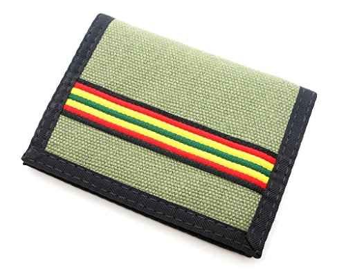 Hempy's Hemp Bi-fold Wallet - Green and Rasta - One Size