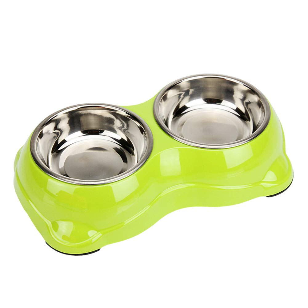 GREEN Forever-You Dog Bowls Stainless Steel Dog Bowl Double Bowl Dog cat Bowl Dog Food Bowl pet Bowls Green