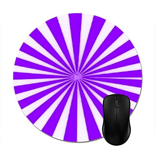 Candy Cane Stripe Mouse - Mousepad Purple Candy Cane Star Burst Stripes Pattern Print Non-Slip Round Mouse Mat