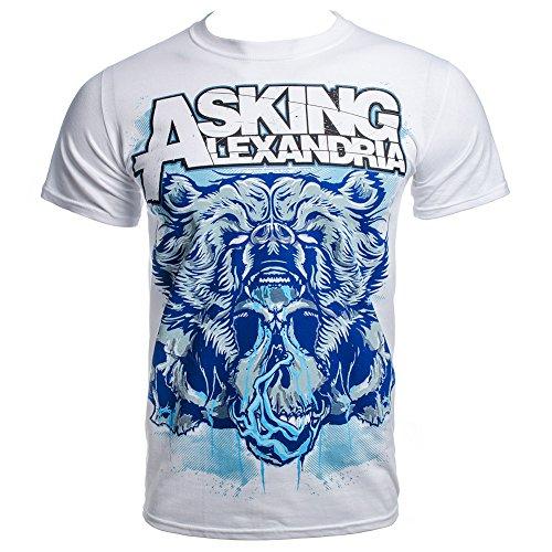 Asking Alexandria Men's Bear Skull T Shirt - Medium, White