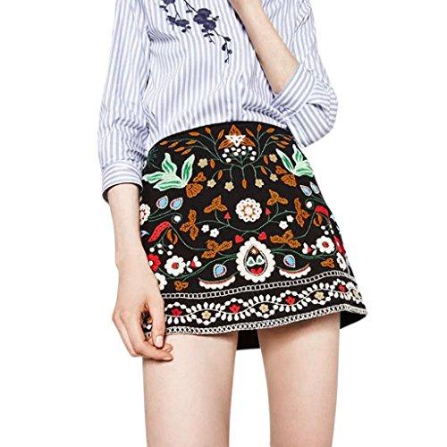 (OHTOP Women Boho Skirt, High Waist Vintage Ethnic Flower Embroidered A Line Bodycon Short Mini Skirt (M))