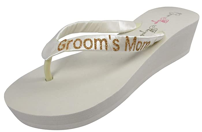 1ca61377a Image Unavailable. Image not available for. Color  Gold Groom s Mom or  Mother of the Bride Bling Flip Flops ...