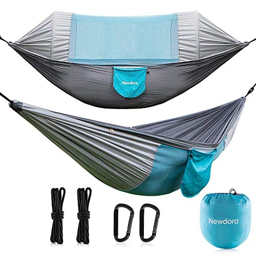 Newdora Hammock with Mosquito Net 2 Person Camping, Ultralight Portable Windproof, Anti-Mosquito, Swing Sleeping Hammock Bed with Net and 2 x Hanging Straps for Outdoor, Hiking, Backpacking, -