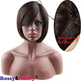 Rossy&Nancy 10A Virgin Brazilian Glueless Human Hair Mono Lace Net Short Bob Wigs Silk Straight for Black Women with Left Side Bangs Natural Black Color 10inch Review