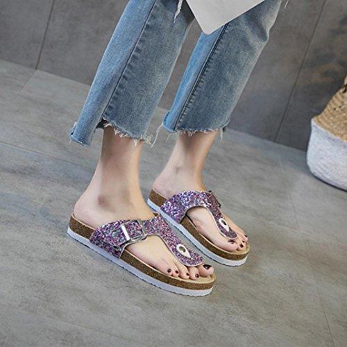 Mujer Chancla Sandalias para Lentejuela QinMM Baño de y Fiesta Zapatos Morado Verano Casual Plano Playa Vestir de 1Cw8Cqp