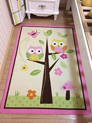 HUAHOO Kids Rugs Girl Bedroom Home Textile,Unique Cartoon Owl Carpet,Designer Pink Fairy Girls Rug for Living Room,Delicate Butterfly Kids Rug (Kids Rug 39''x56'')