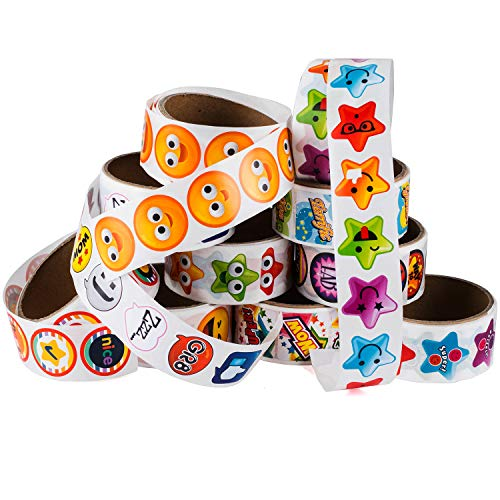 Sticker 10 (Tigerdoe Sticker Roll - 10 Sticker Rolls - 1000 Assorted Stickers - Stickers for Kids - Teachers Stickers)