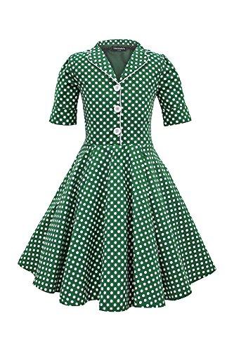 BlackButterfly Kids 'Sabrina' Vintage Polka Dot 50's Girls Dress (Green, 3-4 YRS)