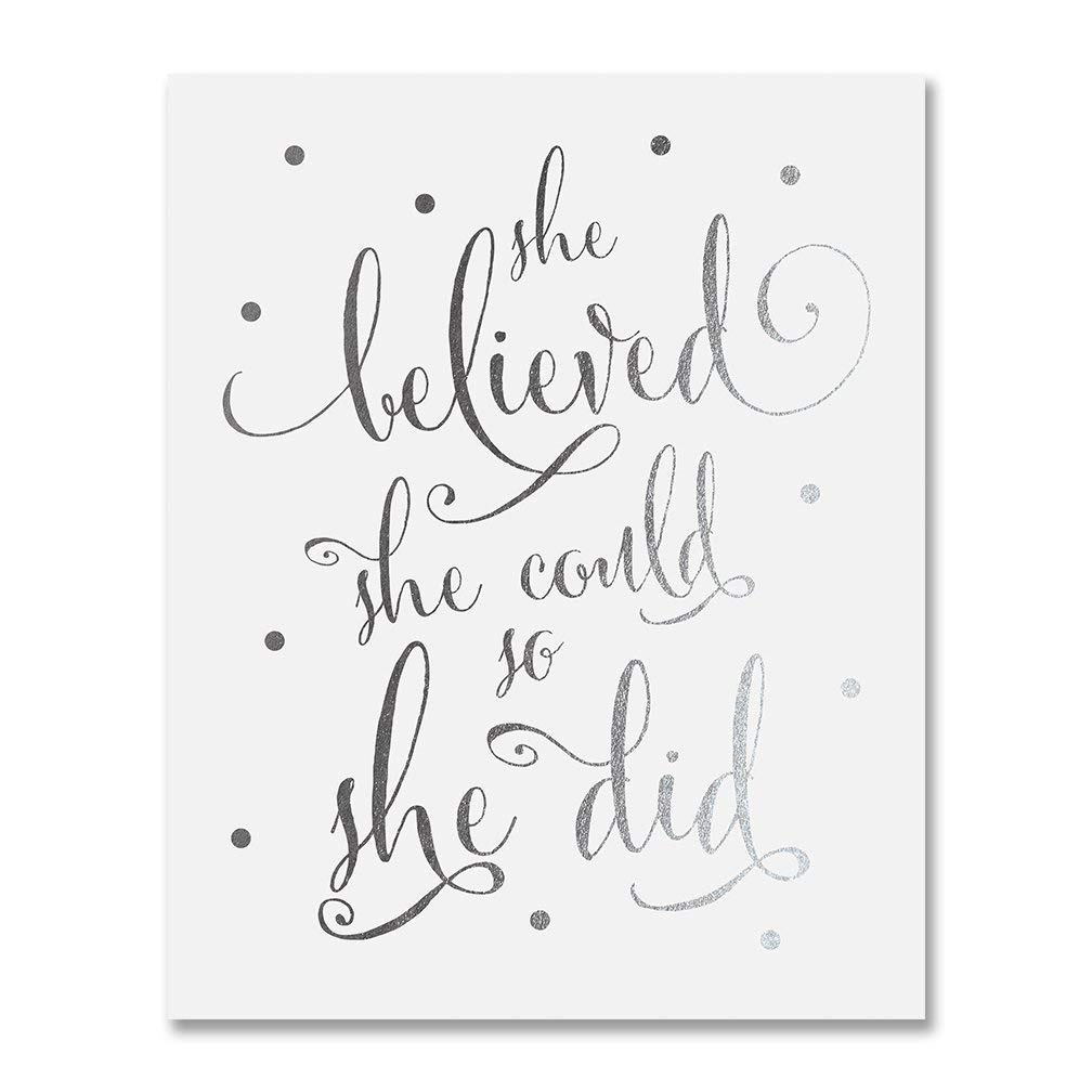 She Believed She Could So She Did Silver Foil Art Print Inspirational Modern Wall Art Decor 5 inches x 7 inches B5