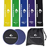 Cheap World Wonders Gliding Exercise Discs and Resistance Loop Bands Set | 2 Sliders and 5 Elastic Bands w/Carry Bag | Dual-Sided for Any Surface Type | Ideal Gym Workout Equipment for Abs, Core, and Legs