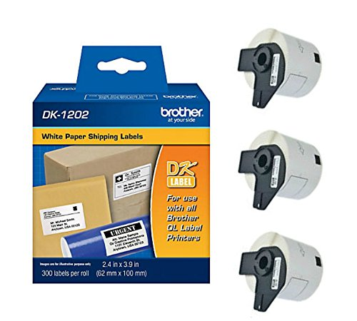 Brother Genuine DK-1202 Die-Cut Shipping Paper Labels, 300 Labels per Roll, 3 Rolls – For Use With QL Label Printers by Brother