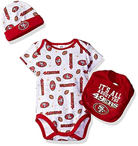 NFL San Francisco 49ers Bodysuit, Bib & Cap Set, 3-6 Months, Red - San Francisco 49ers Nfl Football