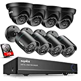 SANNCE 8CH 1080N DVR Recorder with 1TB Hard Drive + 8xHD 1.0MP 720P CCTV Security Cameras, H.264 Security System, Motion Detection & Email Alert