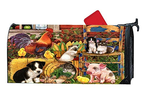 Personalized Magnetic Mailbox Cover for Standard Sized Mailboxes, 6.5 x 19 Inches - Farm Animals Cat Pig Canine Rooster Dog Chickens