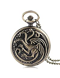 Game of Thrones Theme Men's Pocket Watch Family Crests House Targaryen Bronze Quartz Dragon Fire and Blood Pocket Watch, Gift Pocket Watch