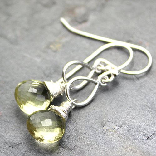 Gemstone Lemon Quartz Earrings Teardrop Sterling Silver Briolettes - Lemon Quartz Drop