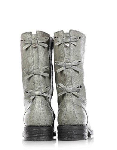 Twin Set Grey Boot Made Of Leather, Double Zipper laterally and On The Front,Child,Girl,Girls,Woman