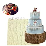 Anyana Fondant Impression Mat 7.3 inch Tree Bark texture Design silicone imprint mold icing candy embossing mould gumpaste cake decorating sugarcraft Wood Panel tools lumberjack