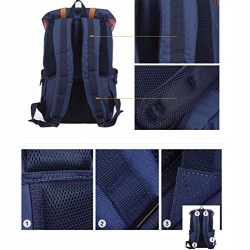 Freizeit Retro Computer Rucksack Männer Canvas Leder Wasserdicht Diebstahlsicherung Mode Reisen Rucksack Kann installiert werden 13-14 Zoll Laptop black