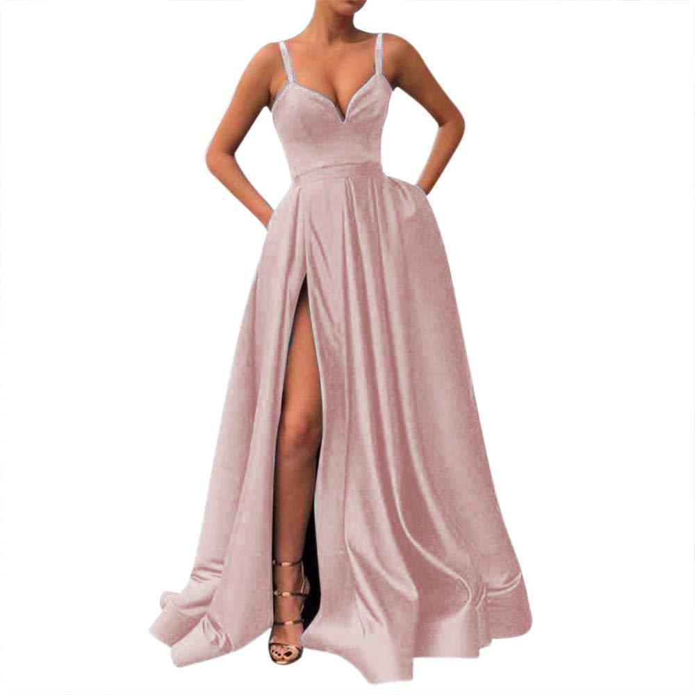 bluesh Fanciest Women's Spaghetti Straps Slit Satin Prom Evening Dresses with Pockets