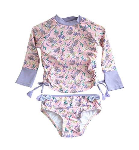 Little Girls Long Sleeve Rash Guard 2-Piece Swimsuit Set - with UPF 50+ Sun Protection-purple-120