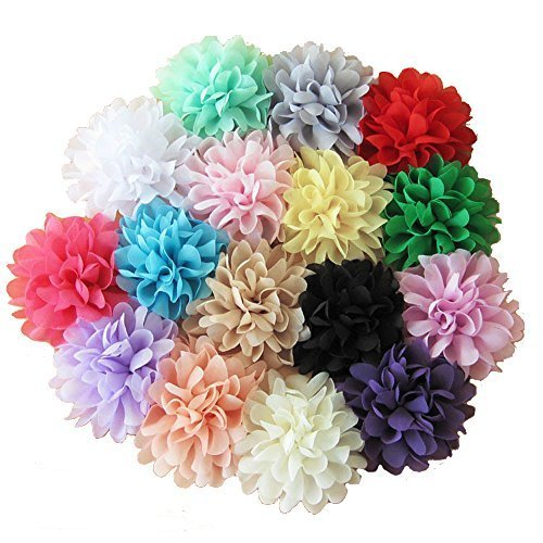 Aisila® 16 Pieces 4 Different Colors Handmade Chiffon Flowers for DIY Headbands Girl Flower Accessories Baby Flower Headband AIH0129