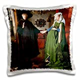 BLN Paintings of Love Fine Art Collection - Portrait of Giovanni Arnolfini and His Wife by Jan Van Eyck - 16x16 inch Pillow Case (pc_127150_1)
