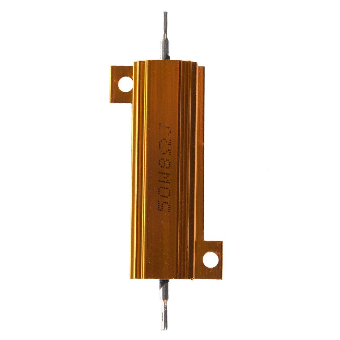 WOVELOT 50 W 8 Ohms 5/% Resistance de puissance bobinee vetue daluminium Ton or