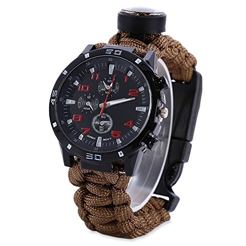 WY Survival Paracord Watch, Men & Women Emergency Survival Watch with Whistle/Fire Starter/Scraper/Compass and Thermometer, 8 in 1 Multifunctional Outdoor Gear by WY